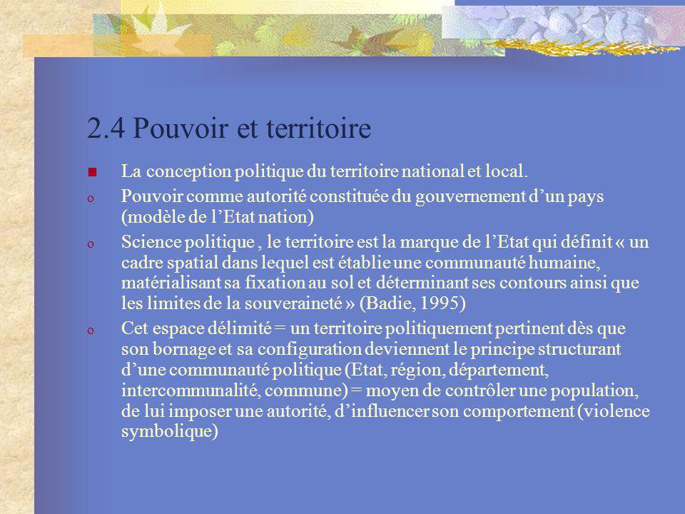 2.4 Pouvoir et territoire La conception politique du territoire national et local. o Pouvoir comme autorité constituée du gouvernement dun pays (modèl