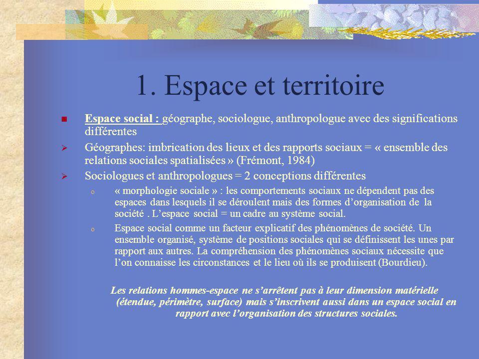 1. Espace et territoire Espace social : géographe, sociologue, anthropologue avec des significations différentes Géographes: imbrication des lieux et