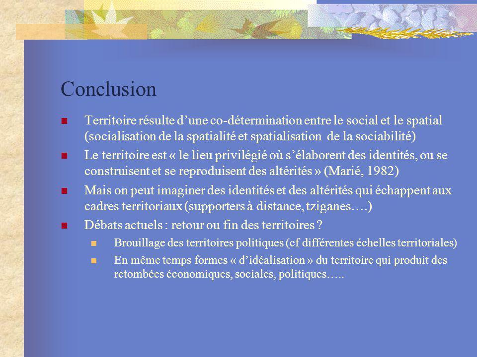 Conclusion Territoire résulte dune co-détermination entre le social et le spatial (socialisation de la spatialité et spatialisation de la sociabilité)