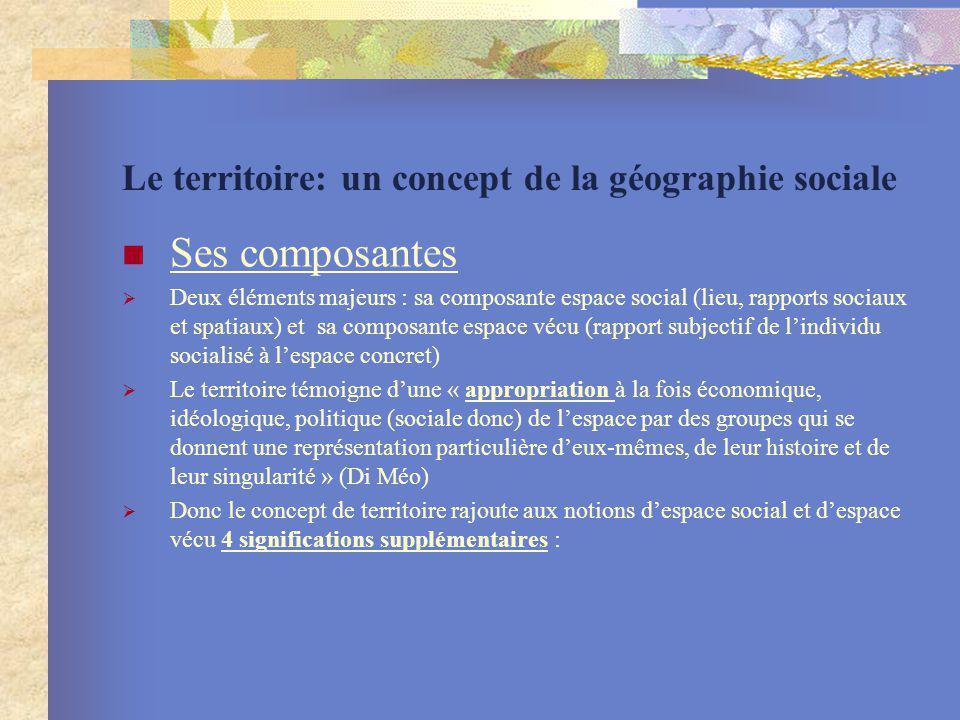 Le territoire: un concept de la géographie sociale Ses composantes Deux éléments majeurs : sa composante espace social (lieu, rapports sociaux et spat