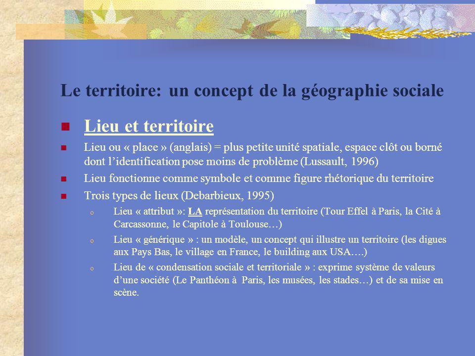 Le territoire: un concept de la géographie sociale Lieu et territoire Lieu ou « place » (anglais) = plus petite unité spatiale, espace clôt ou borné d
