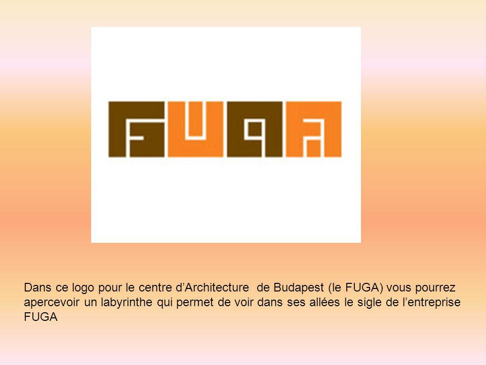 Dans ce logo pour le centre dArchitecture de Budapest (le FUGA) vous pourrez apercevoir un labyrinthe qui permet de voir dans ses allées le sigle de l