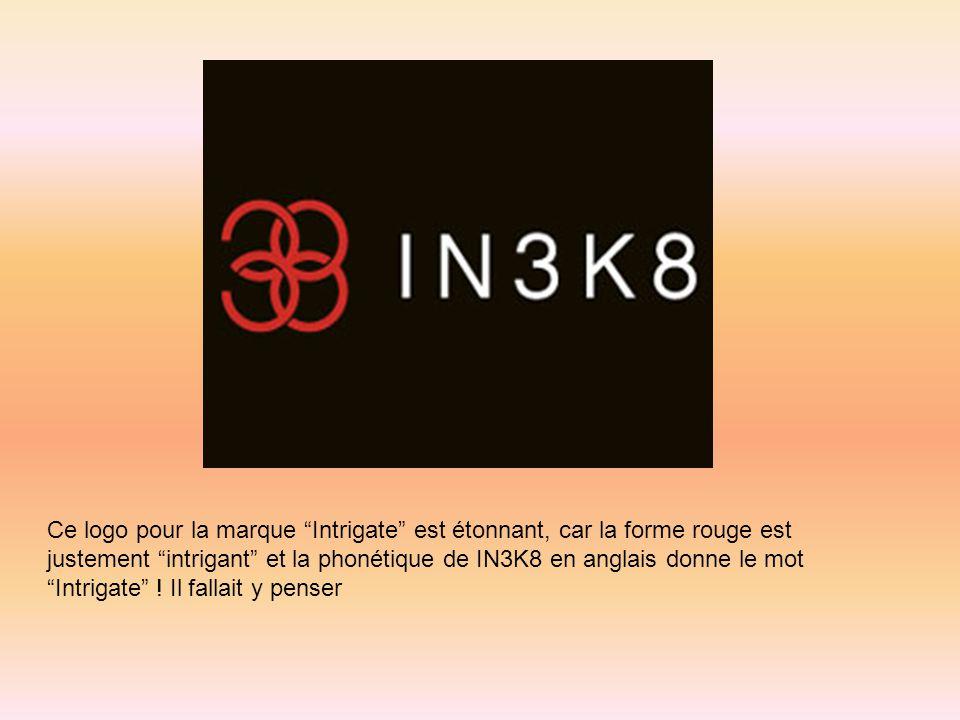 Ce logo pour la marque Intrigate est étonnant, car la forme rouge est justement intrigant et la phonétique de IN3K8 en anglais donne le mot Intrigate
