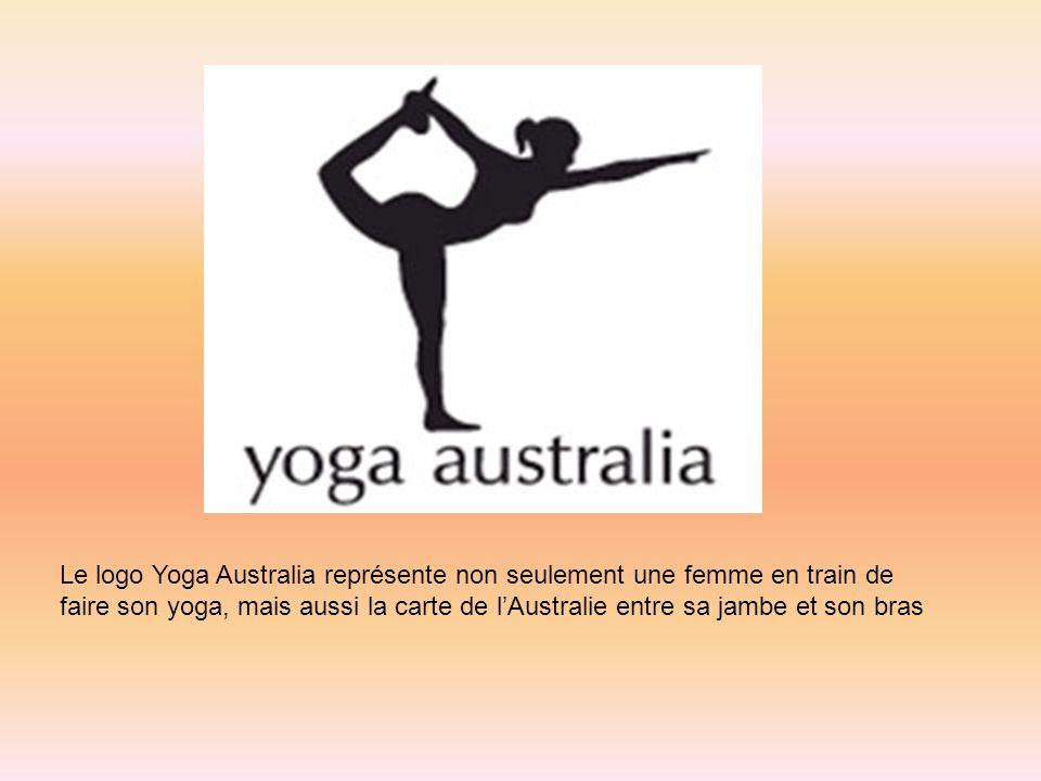 Le logo Yoga Australia représente non seulement une femme en train de faire son yoga, mais aussi la carte de lAustralie entre sa jambe et son bras
