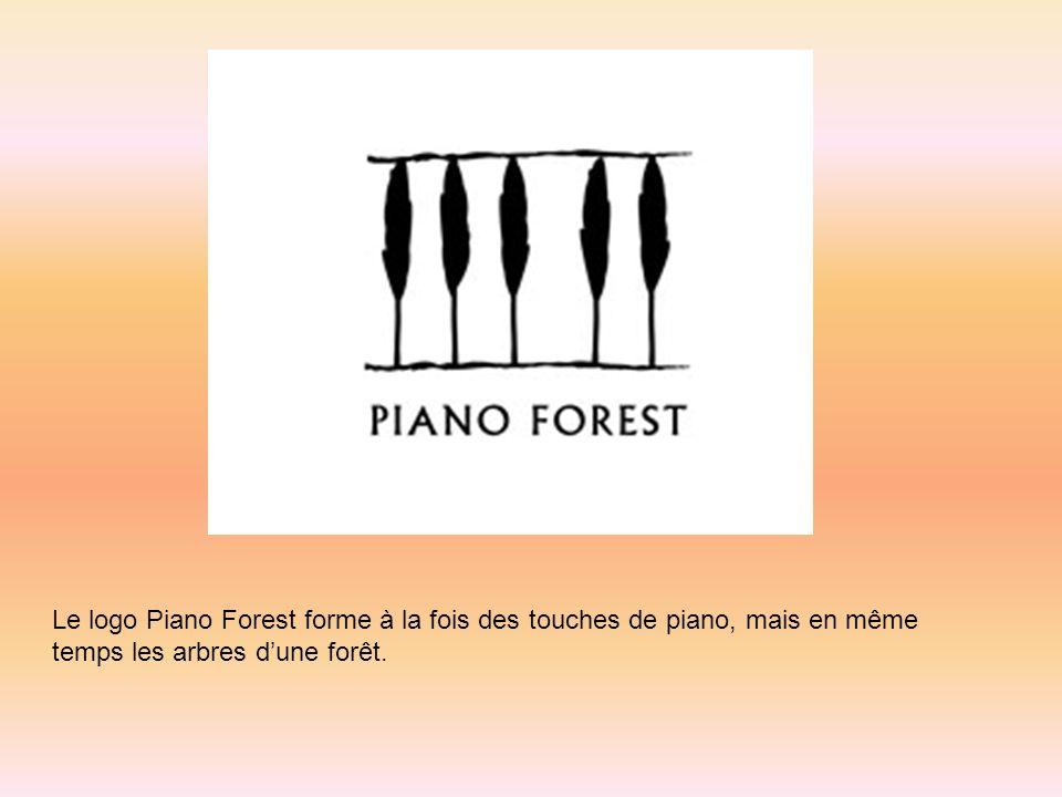 Le logo Piano Forest forme à la fois des touches de piano, mais en même temps les arbres dune forêt.