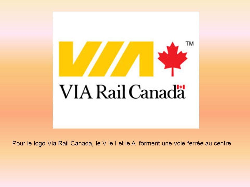 Pour le logo Via Rail Canada, le V le I et le A forment une voie ferrée au centre