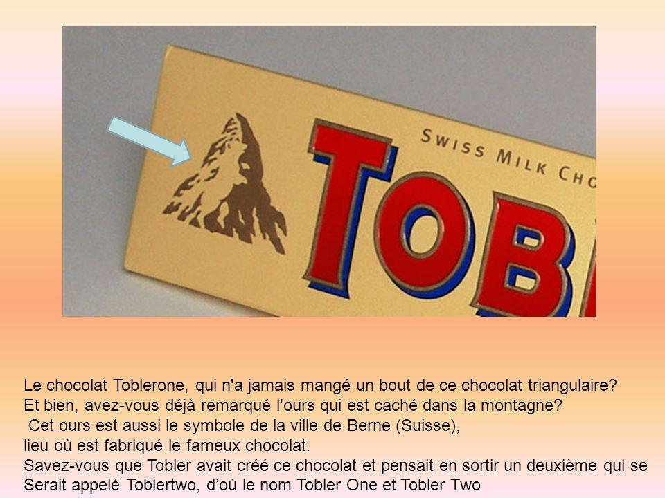 Le chocolat Toblerone, qui n'a jamais mangé un bout de ce chocolat triangulaire? Et bien, avez-vous déjà remarqué l'ours qui est caché dans la montagn