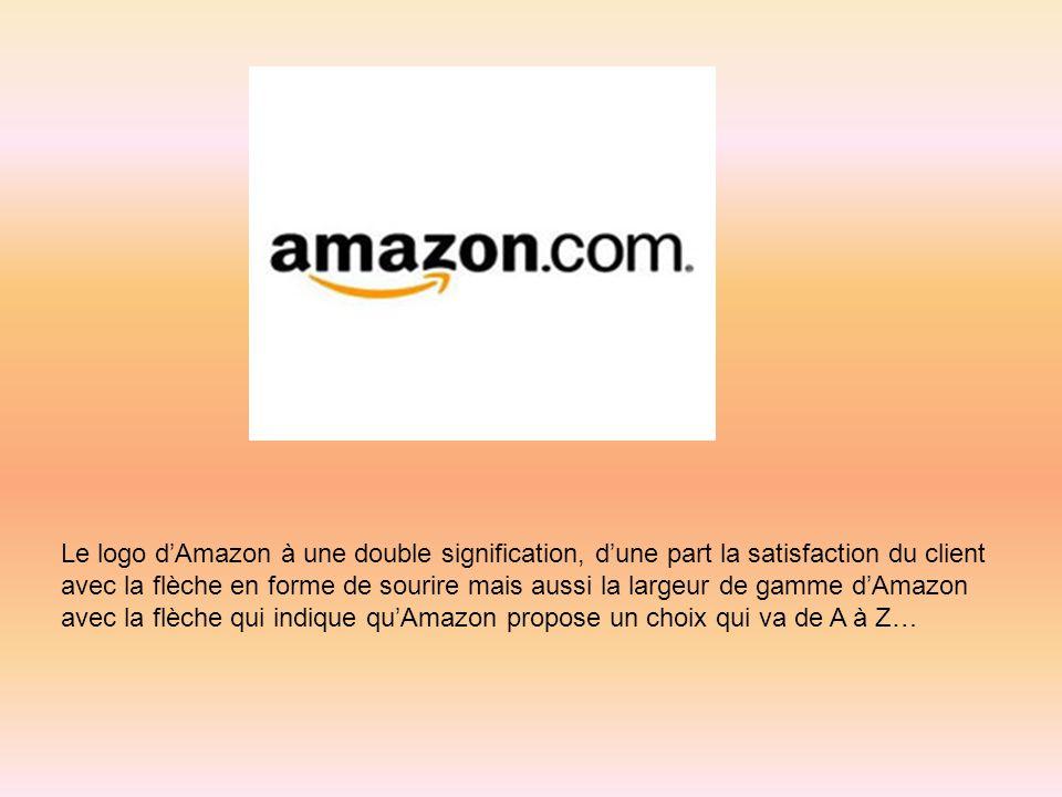 Le logo dAmazon à une double signification, dune part la satisfaction du client avec la flèche en forme de sourire mais aussi la largeur de gamme dAma