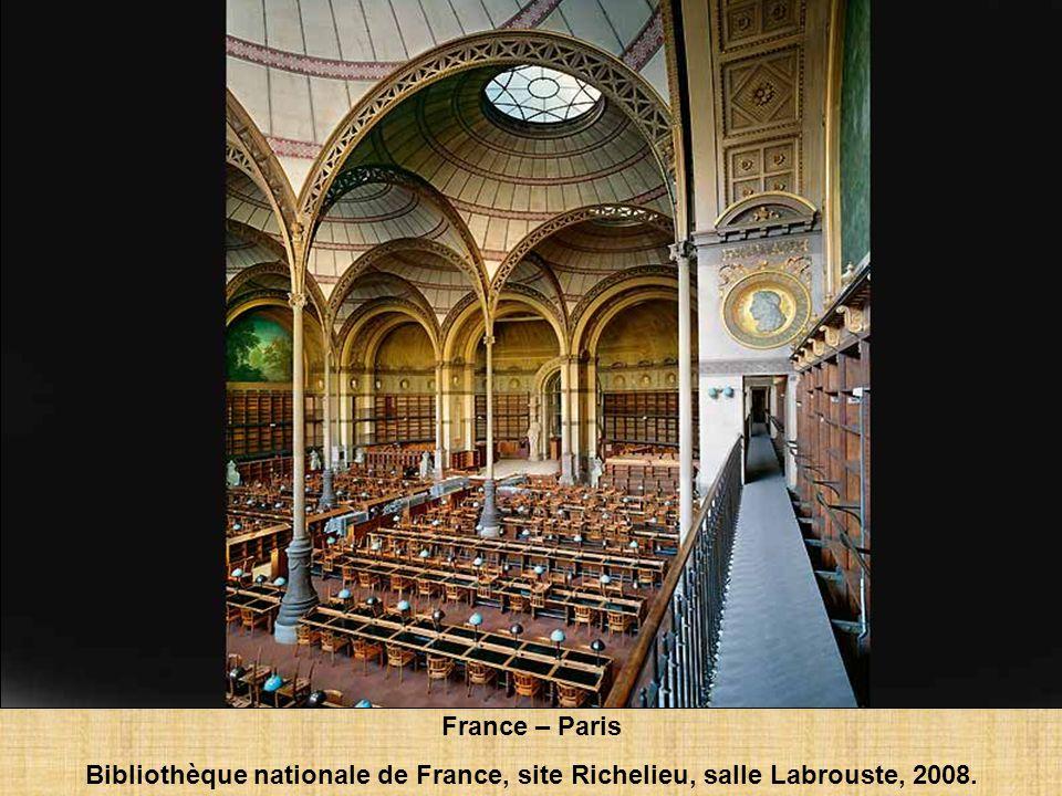 France – Paris Bibliothèque nationale de France, site Richelieu, salle Labrouste, 2008.
