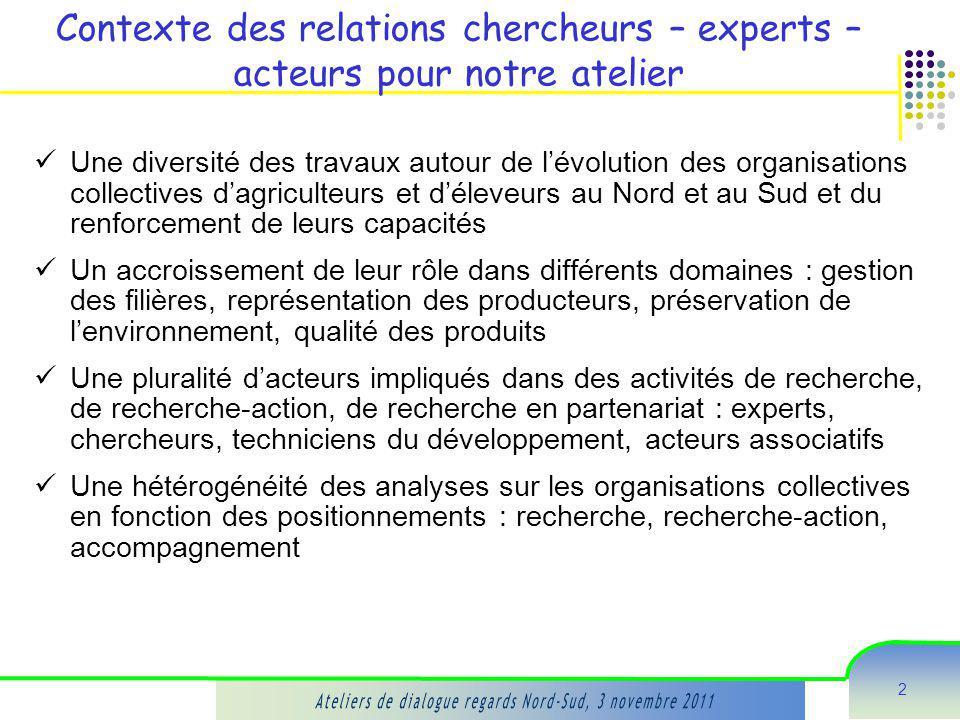 2 Contexte des relations chercheurs – experts – acteurs pour notre atelier Une diversité des travaux autour de lévolution des organisations collective