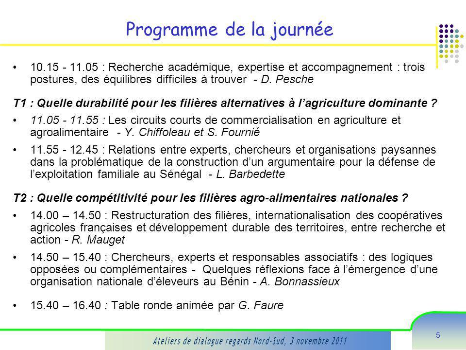 5 Programme de la journée 10.15 - 11.05 : Recherche académique, expertise et accompagnement : trois postures, des équilibres difficiles à trouver - D.