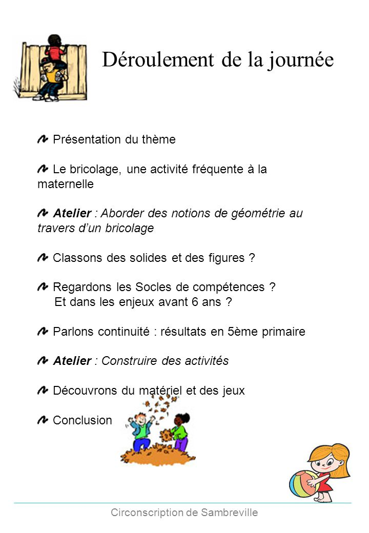 Circonscription de Sambreville Déroulement de la journée Présentation du thème Le bricolage, une activité fréquente à la maternelle Atelier : Aborder