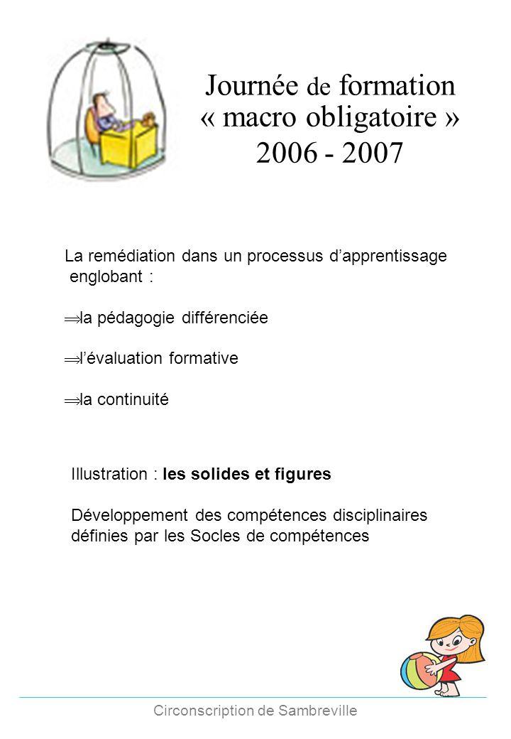 Circonscription de Sambreville Journée de formation « macro obligatoire » 2006 - 2007 La remédiation dans un processus dapprentissage englobant : la p