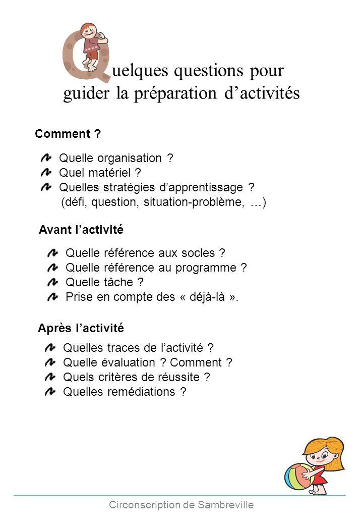 Fréquence des activités dans les classes maternelles Circonscription de Sambreville