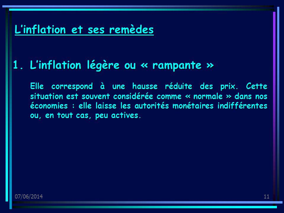 07/06/201411 1.Linflation légère ou « rampante » Elle correspond à une hausse réduite des prix. Cette situation est souvent considérée comme « normale