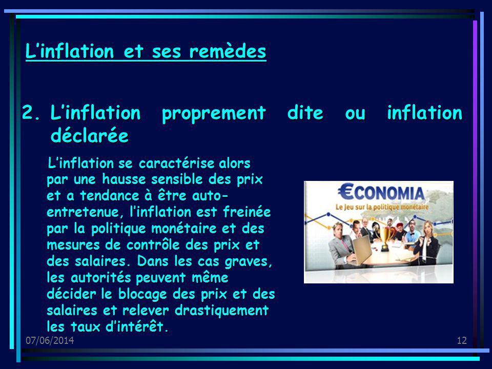 07/06/201412 2.Linflation proprement dite ou inflation déclarée Linflation et ses remèdes Linflation se caractérise alors par une hausse sensible des