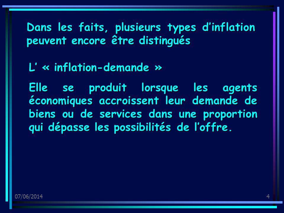 07/06/20144 Dans les faits, plusieurs types dinflation peuvent encore être distingués L « inflation-demande » Elle se produit lorsque les agents écono