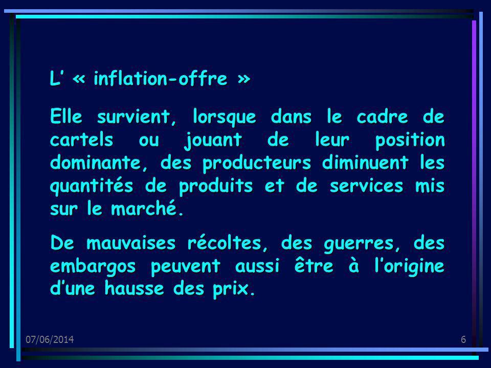 07/06/20147 0 2 4 6 8 10 12 14 1 2 3 4 5 6 O0O0 Demande O1O1 Quantité Prix Si loffre diminue (avec une demande stable), le prix du marché augmente !!!