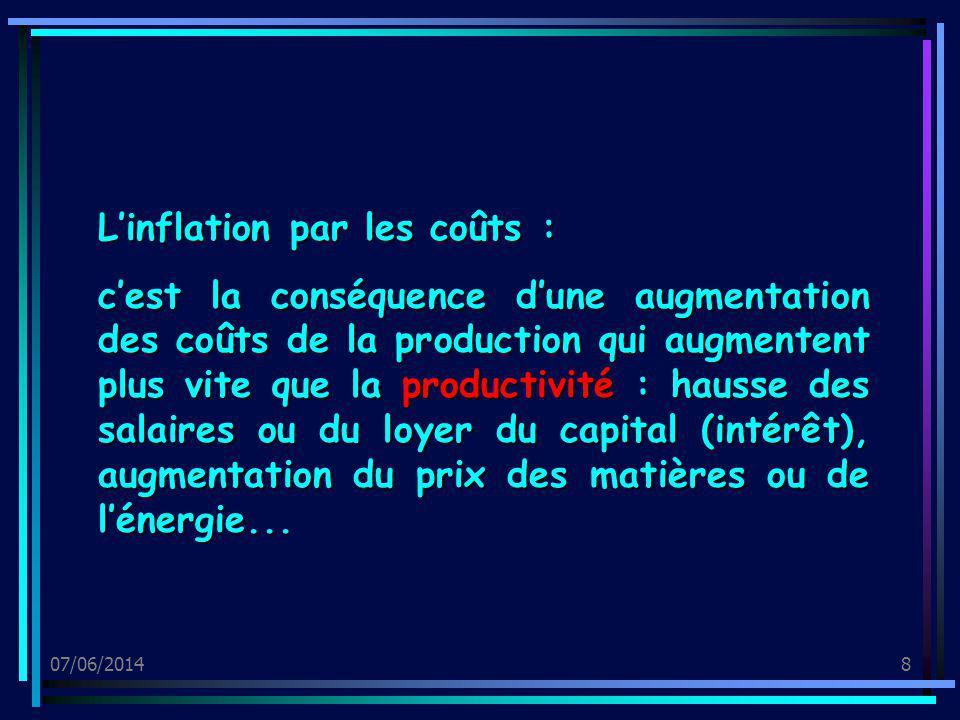 07/06/20148 Linflation par les coûts : cest la conséquence dune augmentation des coûts de la production qui augmentent plus vite que la productivité :