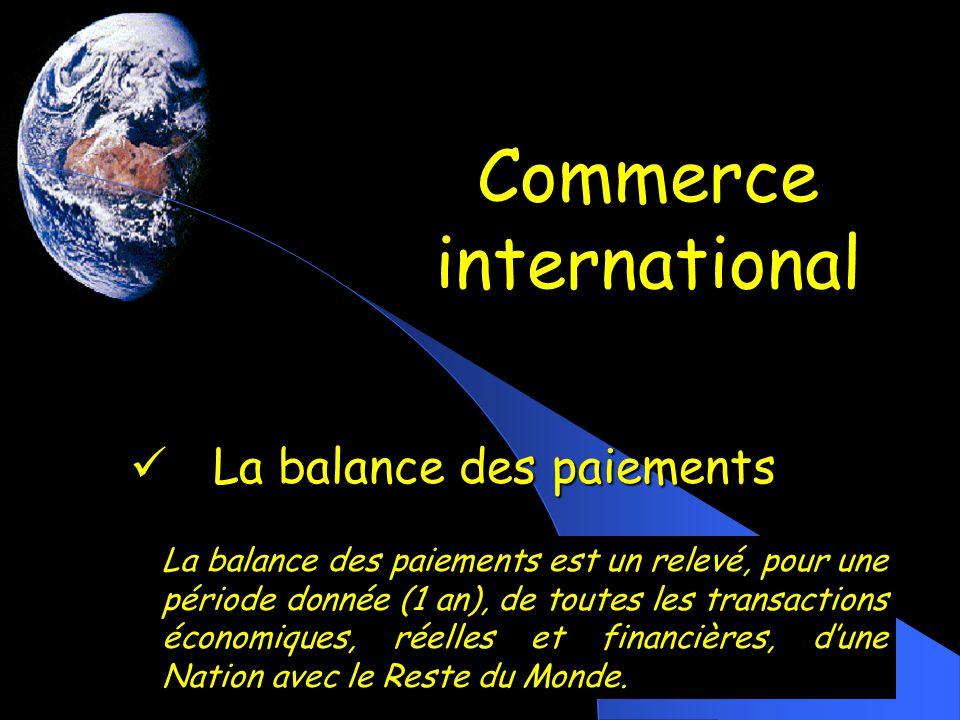 Commerce international La balance des paiements La balance des paiements La balance des paiements est un relevé, pour une période donnée (1 an), de to