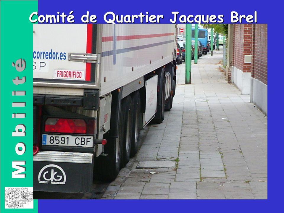 Comité de Quartier Jacques Brel Propositions: Sens uniques Stationnement « excepté riverains » ( inéluctables parfois) Interdit aux +10T (excepté trafic local) Potelets en bois aux carrefours Faire respecter les trottoirs et leurs usagers « Zone 30 »