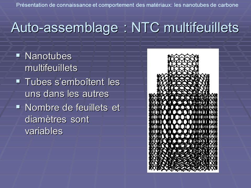 Présentation de connaissance et comportement des matériaux: les nanotubes de carbone Auto-assemblage : NTC multifeuillets Nanotubes multifeuillets Nan