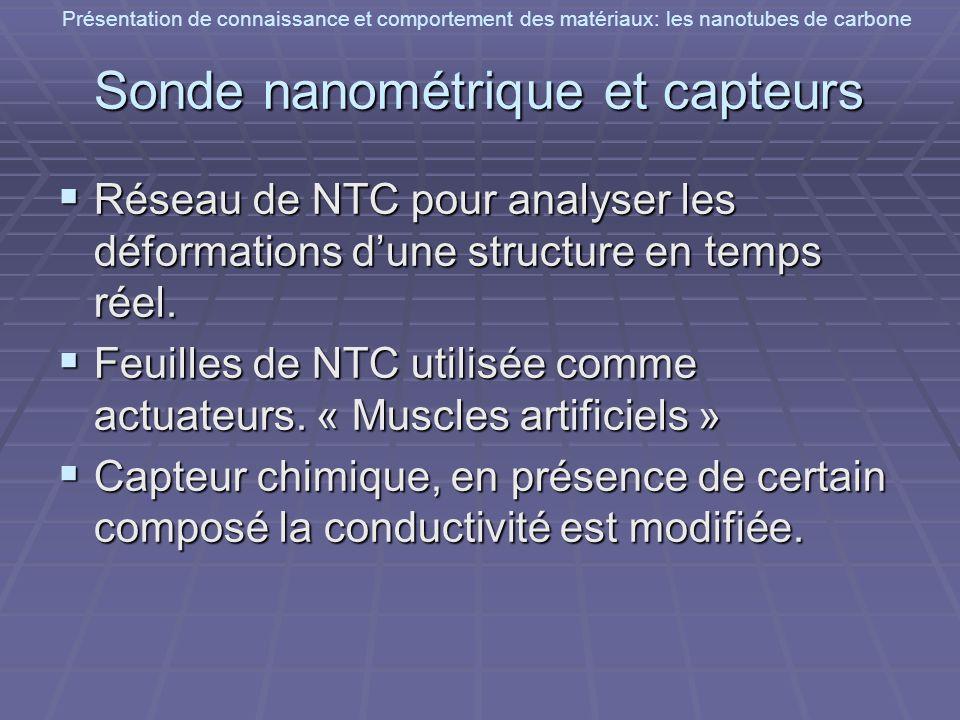 Présentation de connaissance et comportement des matériaux: les nanotubes de carbone Sonde nanométrique et capteurs Réseau de NTC pour analyser les dé