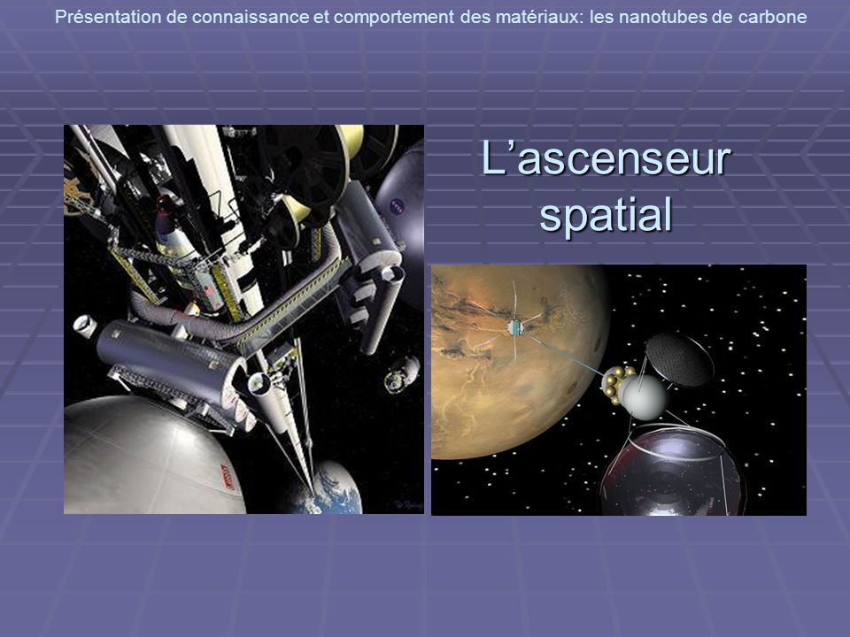 Présentation de connaissance et comportement des matériaux: les nanotubes de carbone Lascenseur spatial