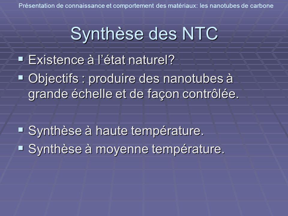 Présentation de connaissance et comportement des matériaux: les nanotubes de carbone Synthèse des NTC Existence à létat naturel? Existence à létat nat