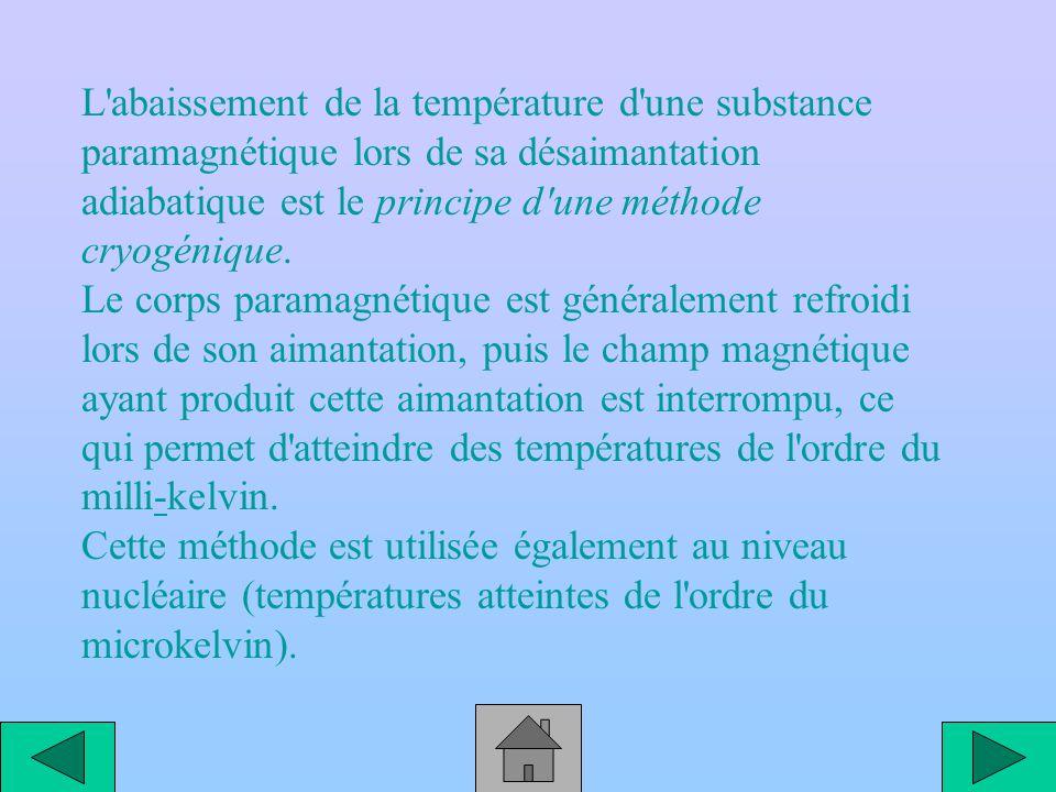 Passage pour une substance paramagnétique de l état non aimanté plus énergétique à l état aimanté; la conservation de l énergie impliquant alors une décroissance de l agitation thermique et donc une baisse de température.