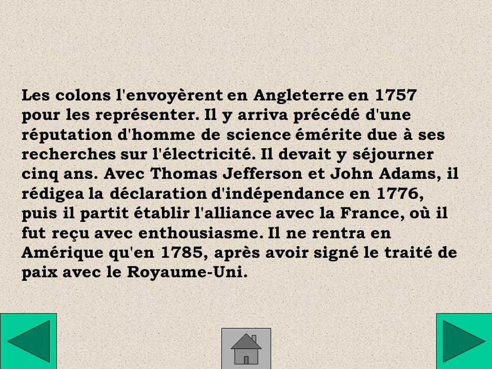Sa famille ayant décidé d en faire un imprimeur, Benjamin Franklin s installa à Philadelphie, où il connut le succès.