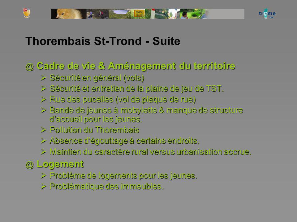 Thorembais St-Trond - Suite @ Cadre de vie & Aménagement du territoire Sécurité en général (vols) Sécurité en général (vols) Sécurité et entretien de