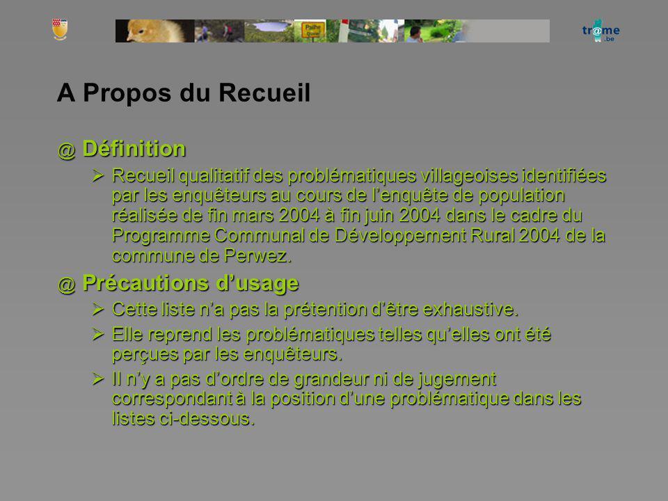 A Propos du Recueil @ Définition Recueil qualitatif des problématiques villageoises identifiées par les enquêteurs au cours de lenquête de population