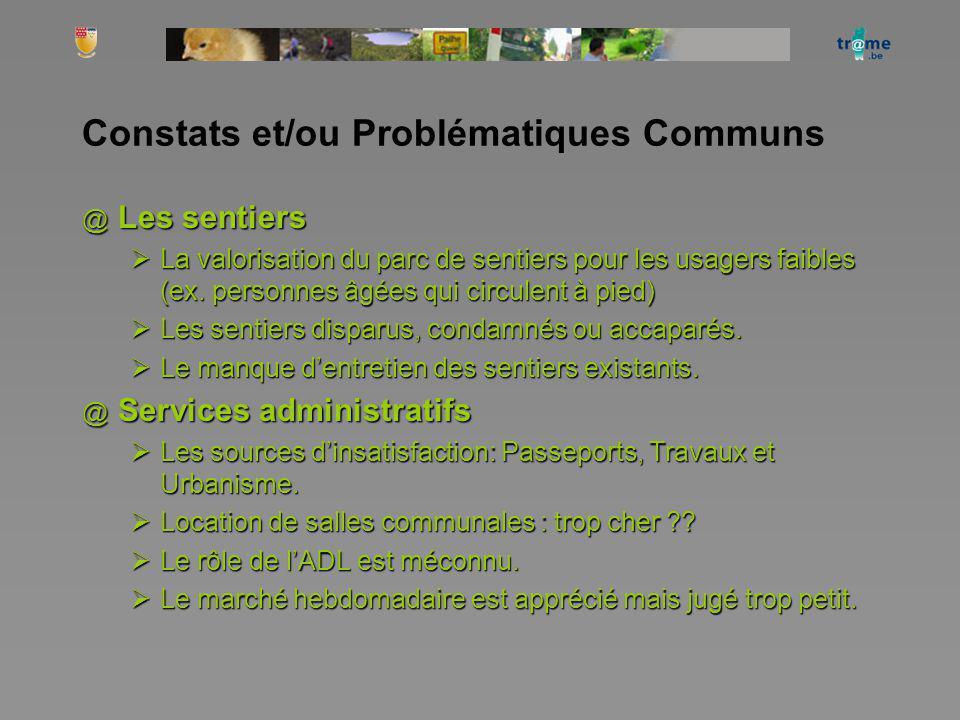 Constats et/ou Problématiques Communs @ Les sentiers La valorisation du parc de sentiers pour les usagers faibles (ex. personnes âgées qui circulent à