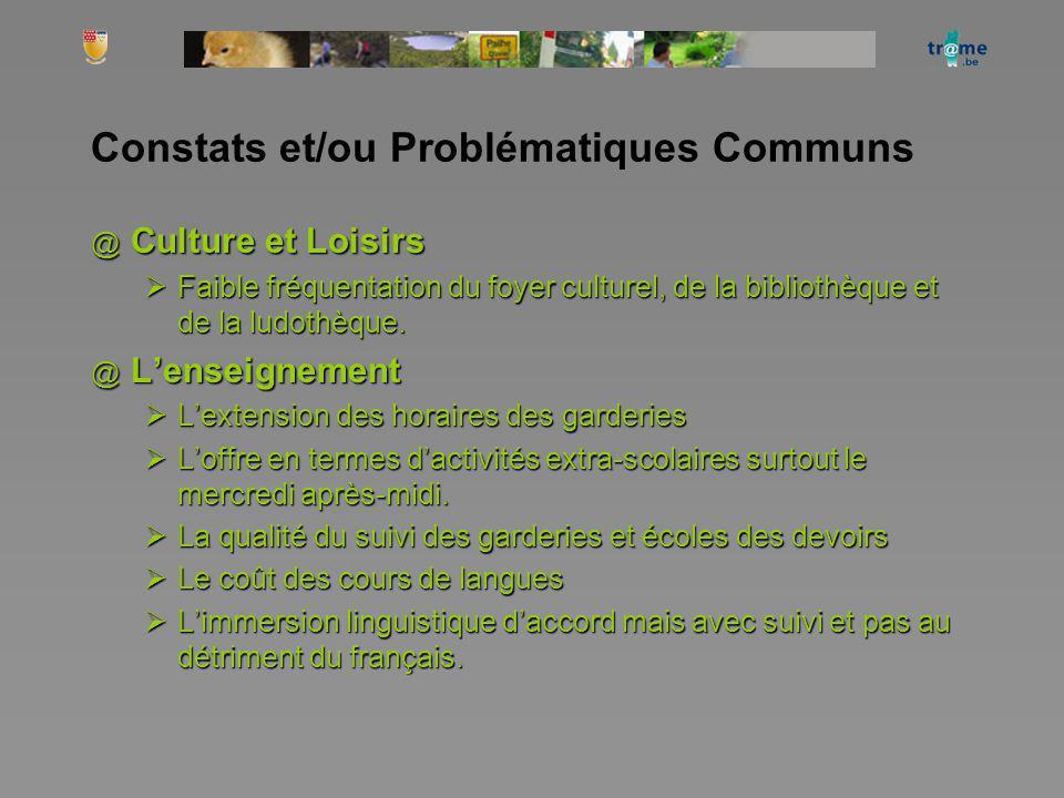 Constats et/ou Problématiques Communs @ Culture et Loisirs Faible fréquentation du foyer culturel, de la bibliothèque et de la ludothèque. Faible fréq