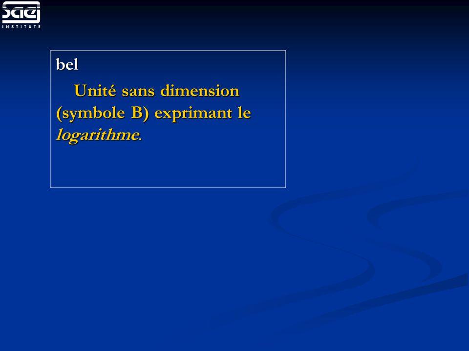bel Unité sans dimension (symbole B) exprimant le logarithme. Unité sans dimension (symbole B) exprimant le logarithme.