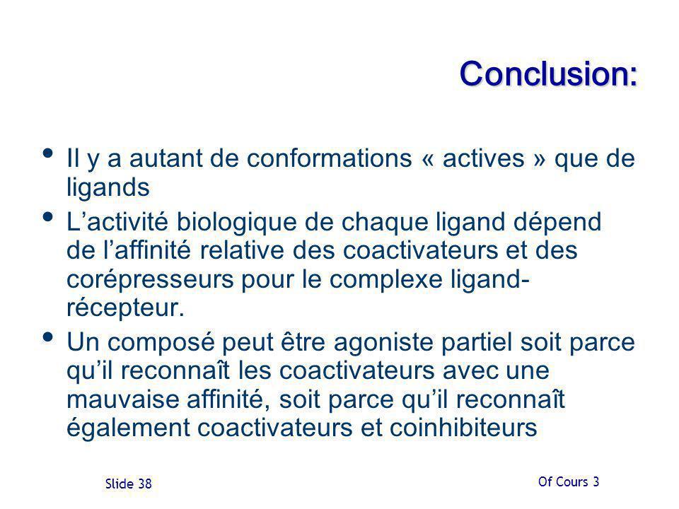 Of Cours 3 Slide 38 Conclusion: Il y a autant de conformations « actives » que de ligands Lactivité biologique de chaque ligand dépend de laffinité relative des coactivateurs et des corépresseurs pour le complexe ligand- récepteur.
