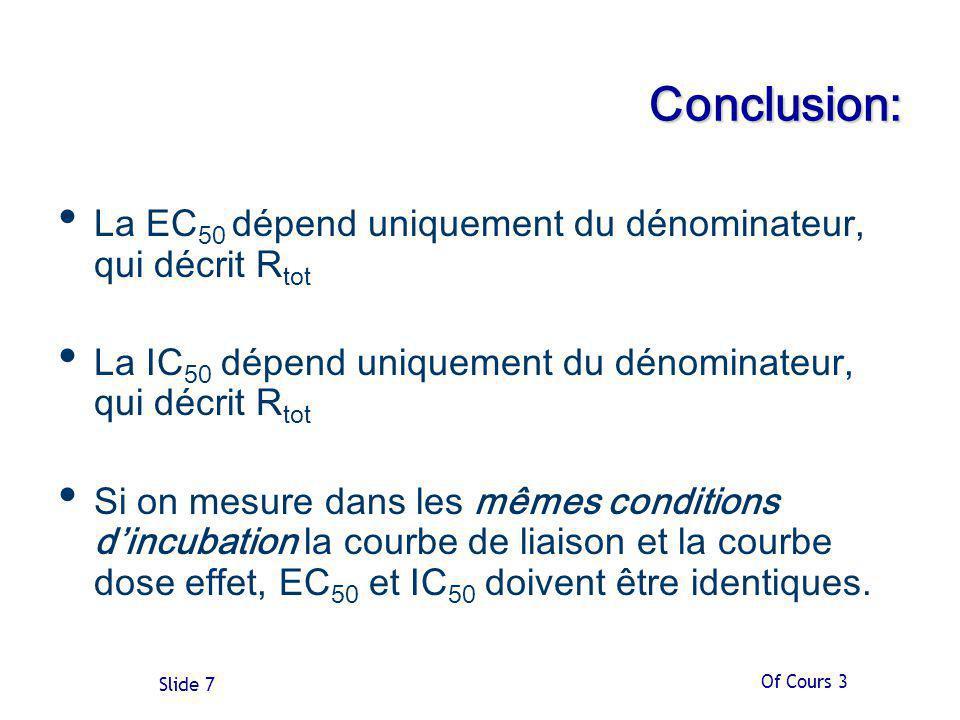Of Cours 3 Slide 7 Conclusion: La EC 50 dépend uniquement du dénominateur, qui décrit R tot La IC 50 dépend uniquement du dénominateur, qui décrit R tot Si on mesure dans les mêmes conditions dincubation la courbe de liaison et la courbe dose effet, EC 50 et IC 50 doivent être identiques.