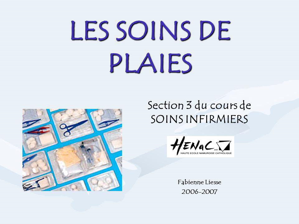LES SOINS DE PLAIES Section 3 du cours de SOINS INFIRMIERS Fabienne Liesse 2006-2007