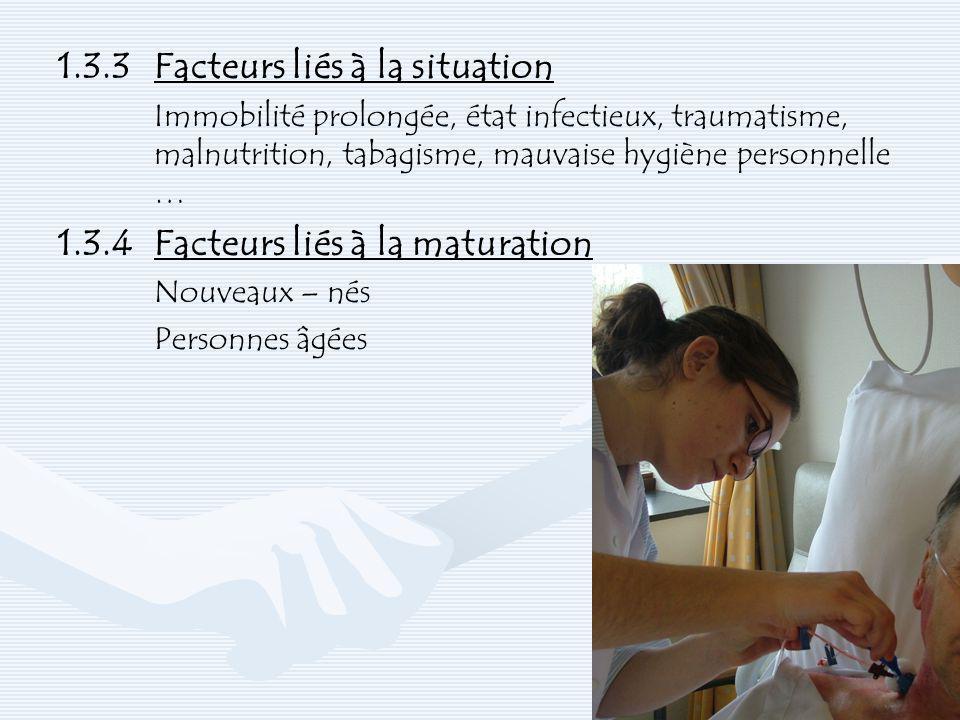 1.3.3Facteurs liés à la situation Immobilité prolongée, état infectieux, traumatisme, malnutrition, tabagisme, mauvaise hygiène personnelle … 1.3.4Fac