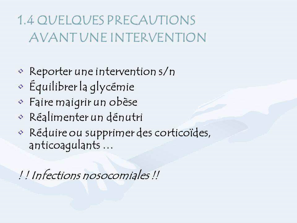 1.4 QUELQUES PRECAUTIONS AVANT UNE INTERVENTION Reporter une intervention s/n Équilibrer la glycémie Faire maigrir un obèse Réalimenter un dénutri Réd