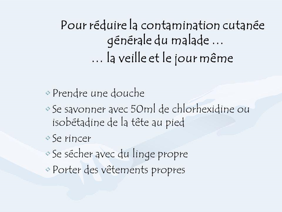 Pour réduire la contamination cutanée générale du malade … … la veille et le jour même Prendre une douche Se savonner avec 50ml de chlorhexidine ou is