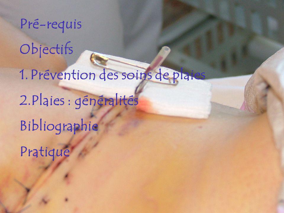 Pré-requis Objectifs 1.Prévention des soins de plaies 2.Plaies : généralités Bibliographie Pratique