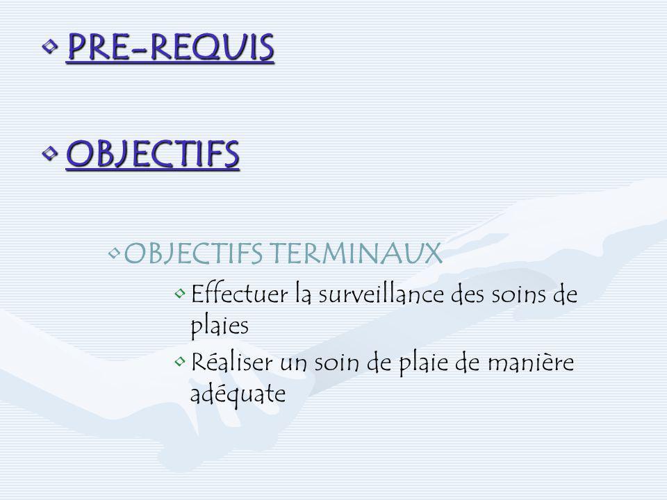 PRE-REQUISPRE-REQUIS OBJECTIFSOBJECTIFS OBJECTIFS TERMINAUX Effectuer la surveillance des soins de plaies Réaliser un soin de plaie de manière adéquat