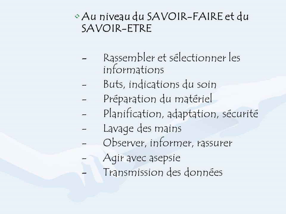 Au niveau du SAVOIR-FAIRE et du SAVOIR-ETRE -Rassembler et sélectionner les informations -Buts, indications du soin -Préparation du matériel -Planific