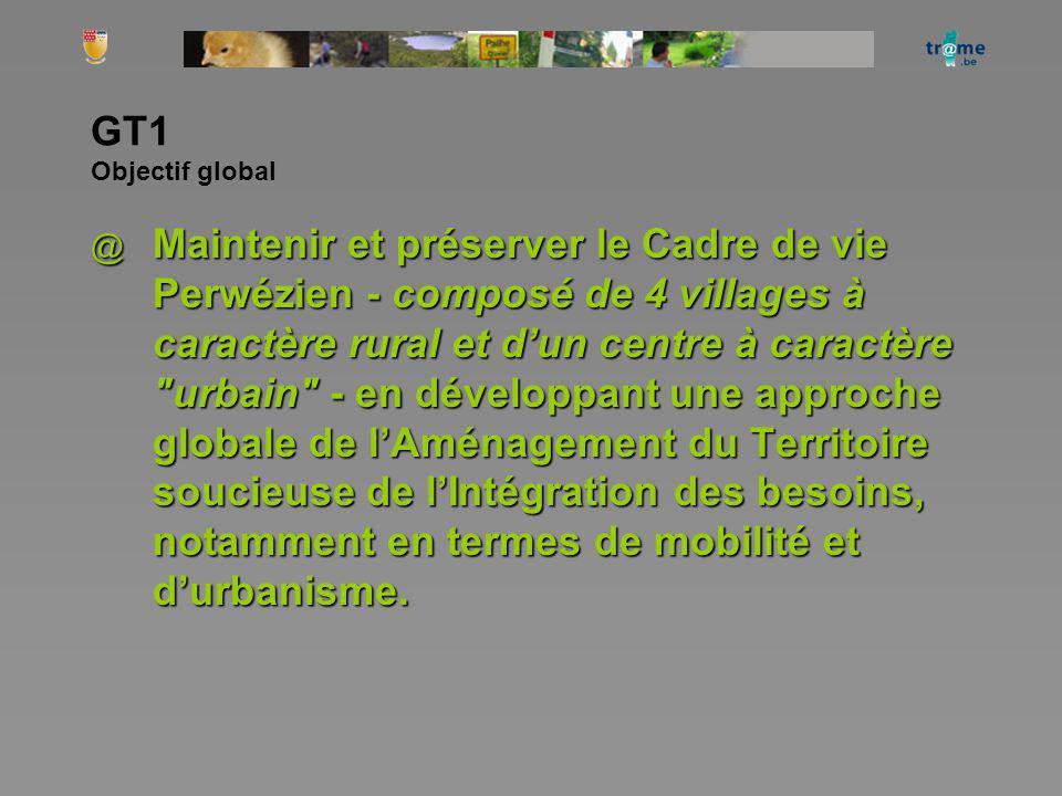 GT1 Objectif global @ Maintenir et préserver le Cadre de vie Perwézien - composé de 4 villages à caractère rural et dun centre à caractère urbain - en développant une approche globale de lAménagement du Territoire soucieuse de lIntégration des besoins, notamment en termes de mobilité et durbanisme.