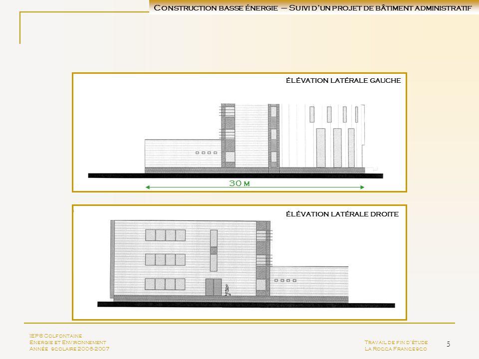 5 ÉLÉVATION LATÉRALE GAUCHE ÉLÉVATION LATÉRALE droite IEPS Colfontaine Energie et EnvironnementTravail de fin détude Année scolaire 2006-2007La Rocca