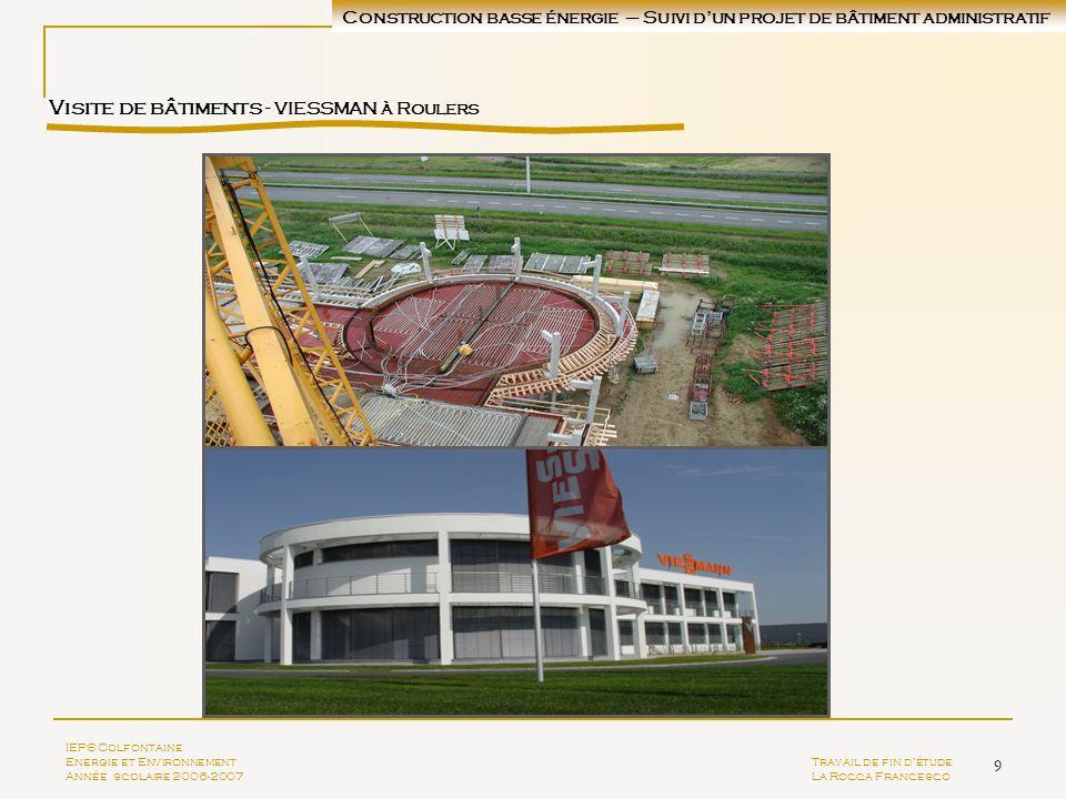 9 Visite de bâtiments - VIESSMAN à Roulers IEPS Colfontaine Energie et EnvironnementTravail de fin détude Année scolaire 2006-2007La Rocca Francesco C