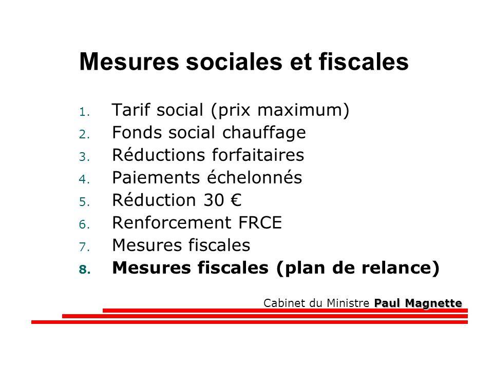 Paul Magnette Cabinet du Ministre Paul Magnette Mesures sociales et fiscales 1.