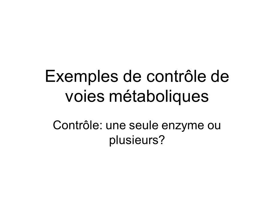 Exemples de contrôle de voies métaboliques Contrôle: une seule enzyme ou plusieurs?